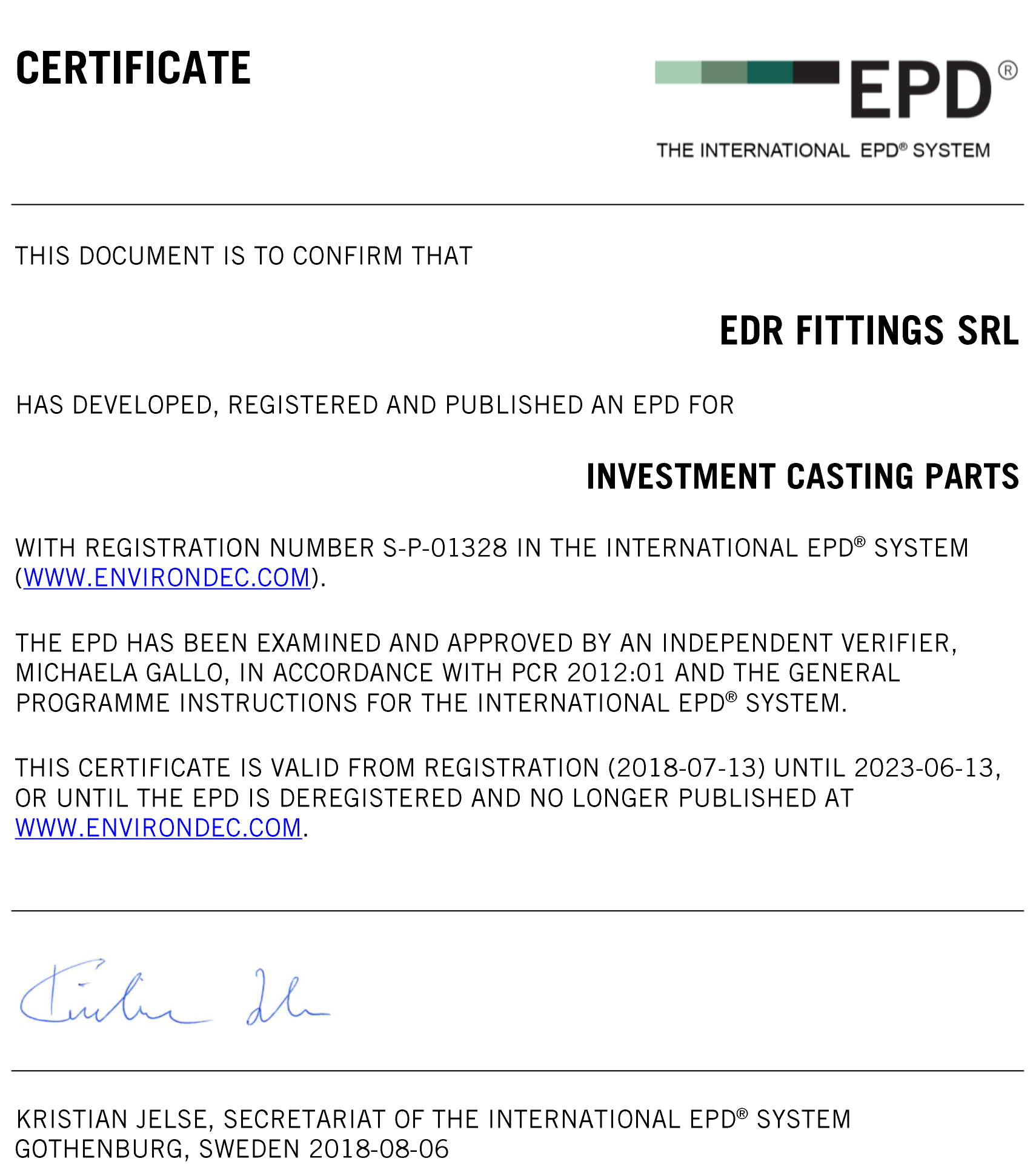 THE INTERNATIONAL EPD SYSTEM